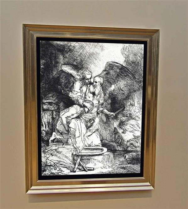 هنر نقاشی و گرافیک محفل نقاشی و گرافیک عارف رستمخانی این نقاشی بر گرفته از نقاشی نقاش بزرگ رامبراند میباشد که صحنه ای که حضرت ابراهیم در قربانگاه میخواهد حضرت اسماعیل را برای خدا قربانی کند و فرشته پیام آور خدا جلوی این کار را میگیرد . این اتفاق بزرگ به زیبایی توسط نقاش بزرگ جهان رامبراند در سال 1655 میلادی خلق شده و نقاشی شده است . تابلوی که در اینجا میبینید توسط بنده کشیده شده است و تلاش کردم که در بالاترین حد ممکن مطابق کار رامبراند باشد. تنها چیزی که از بنده به این اثر اظافه شده است امضایی خودم میباشد که به شکل لاتین نام عارف را در سمت چپ پایین امضا کرده ام .  قاب تابلو چوبی میباشد . سایز کار تقریبا 70x90 میباشد .