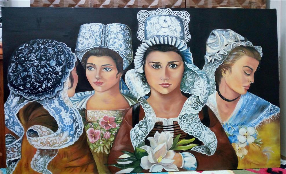 هنر نقاشی و گرافیک محفل نقاشی و گرافیک زهره وکیل پور #پرتره #چهره #کلاسیک #رنگروغن #نقاشی ۱۰۰*۶۰
