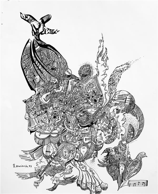 هنر نقاشی و گرافیک محفل نقاشی و گرافیک رضا آفرینش سماع راپید روی کاغذ گلاسه سال ۹۳