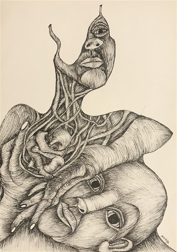 هنر نقاشی و گرافیک محفل نقاشی و گرافیک مانیا جلالی فراهانی عنوان : ریشه های ما  ابعاد: A4 متریال : مقوا و راپید