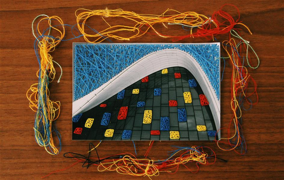 هنر نقاشی و گرافیک محفل نقاشی و گرافیک بهناز ابراهیمی ترکیب عکس و نخ ابعاد:10×15