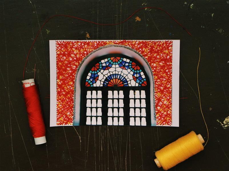 هنر نقاشی و گرافیک محفل نقاشی و گرافیک بهناز ابراهیمی کنده کاری روی عکس با ترکیبی از نخ ابعاد:10×15
