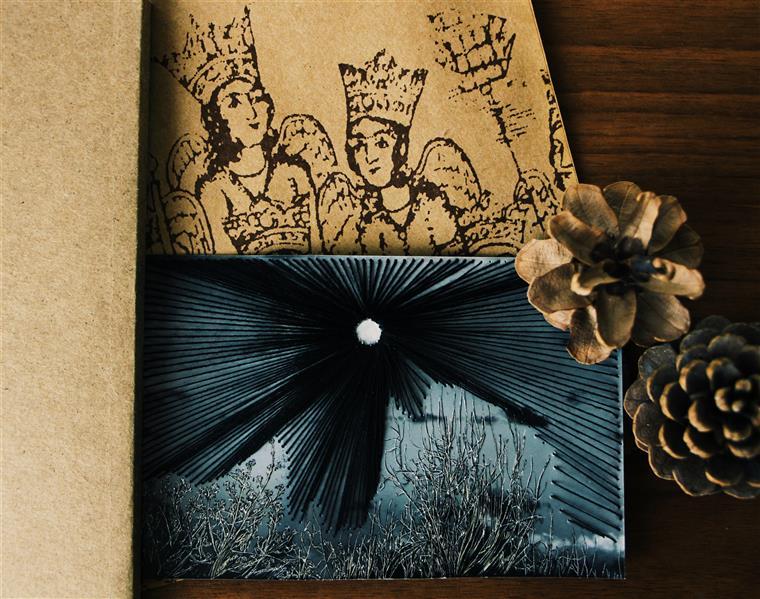 هنر نقاشی و گرافیک محفل نقاشی و گرافیک بهناز ابراهیمی خراش روی عکس همراه با نخ ابعاد:10×15