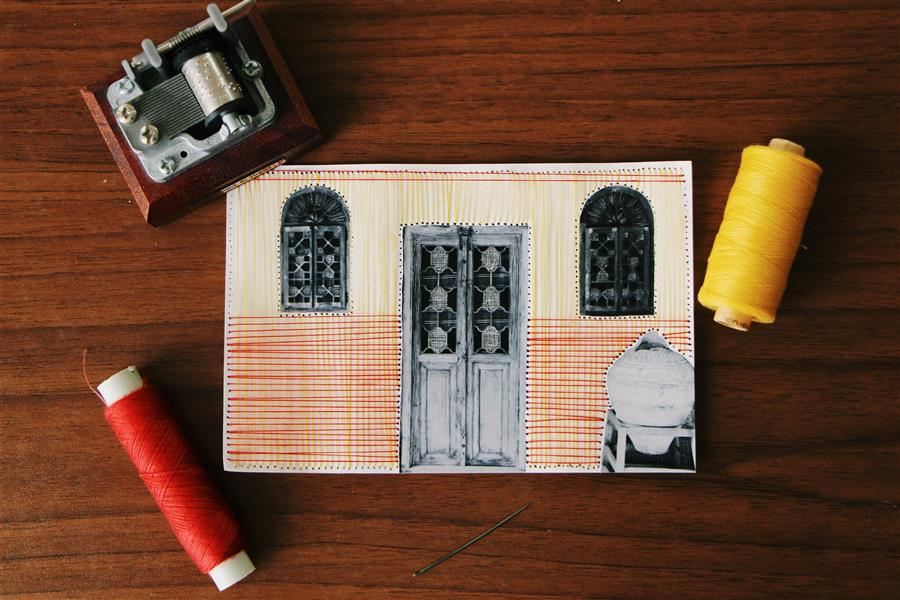 هنر نقاشی و گرافیک محفل نقاشی و گرافیک بهناز ابراهیمی کنده کاری و خراش روی عکس و ترکیب آن با نخ ابعاد:10×15