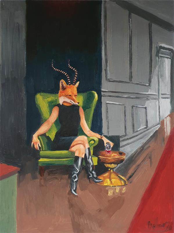 هنر نقاشی و گرافیک محفل نقاشی و گرافیک بهناز ابراهیمی ترکیب فیگور انسان،روباه و شاخ بز رنگ روغن روی بوم