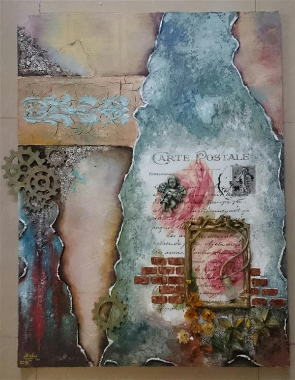 هنر نقاشی و گرافیک محفل نقاشی و گرافیک مرجان سلمانی  نقاشی دکوراتیو،  میکسمدیا، ابعاد 60 در 80، قاب شده