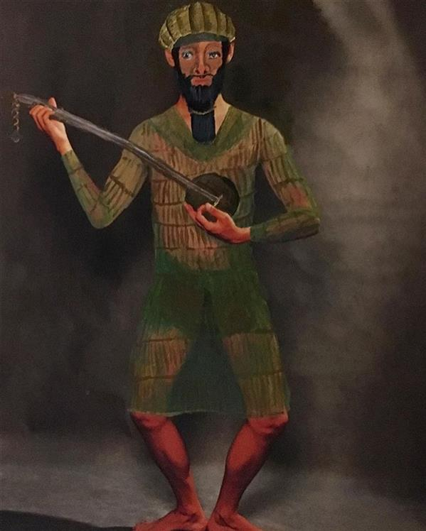 هنر نقاشی و گرافیک محفل نقاشی و گرافیک سایه پارسایی #نقاشی روی عکس / ابعاد ۶۰*۹۰ انسان دوره ی #عیلامیان #ایران باستان مجموعه ی #باستان نامه