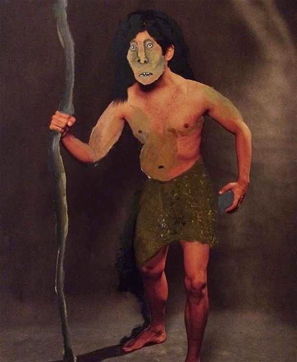 هنر نقاشی و گرافیک محفل نقاشی و گرافیک سایه پارسایی نقاشی روی عکس / ابعاد ۶۰*۹۰ انسان دیرینه سنگی