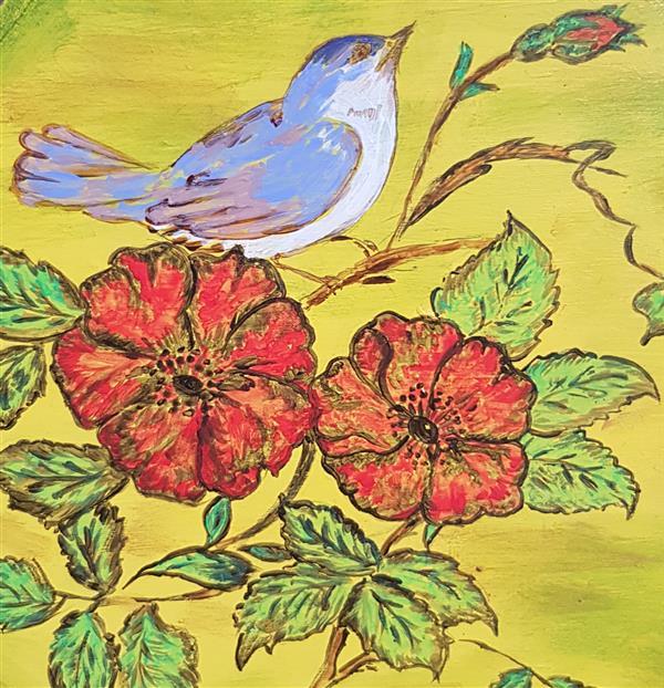 هنر نقاشی و گرافیک محفل نقاشی و گرافیک آرین ناظم موضوع : مرغ باغ ملکوت رنگ روغن ابعاد ۲۰×۲۰