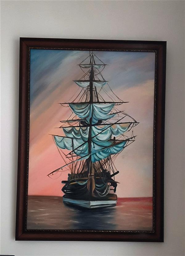 هنر نقاشی و گرافیک محفل نقاشی و گرافیک یاسمن خال داران تابلوی کشتی رنگ روغن سایز ۱۰۰در۷۰ #yanart_gallery