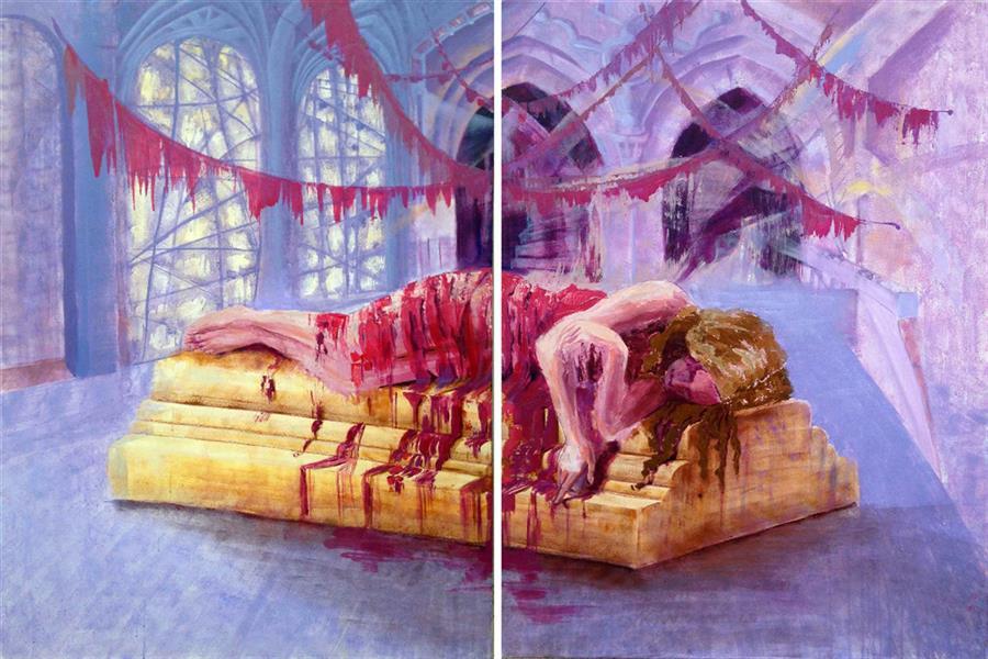 هنر نقاشی و گرافیک محفل نقاشی و گرافیک Minaoojaghi  #ابعاد دو لت مجموعا ١٠٠*١٦٠ #تکنیک اکرولیک روی بوم