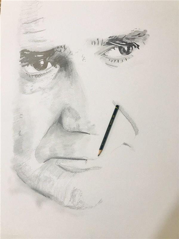 هنر نقاشی و گرافیک محفل نقاشی و گرافیک رضا زارعی سیاه قلم -کاغذ بافت دار- 1399- رضا زارعی