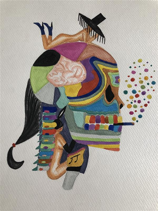 هنر نقاشی و گرافیک محفل نقاشی و گرافیک مهسا قنواتی brainless     ابعاد : ۲۵x۲۵  تکنیک : آبرنگ
