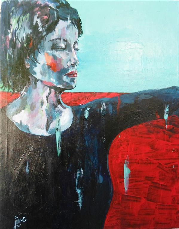 هنر نقاشی و گرافیک محفل نقاشی و گرافیک حافظ بینش #نقاشی_ پرتره از مجموعه #تنهایی #اکسپرسیونیسم #مدرن ابعاد: 45 × 35  تکنیک: آکریلیک روی بوم