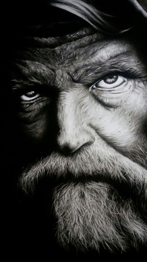 هنر نقاشی و گرافیک محفل نقاشی و گرافیک محمود کارگر نقاشی #سیاه_قلم  سایز 50×70 #پرتره