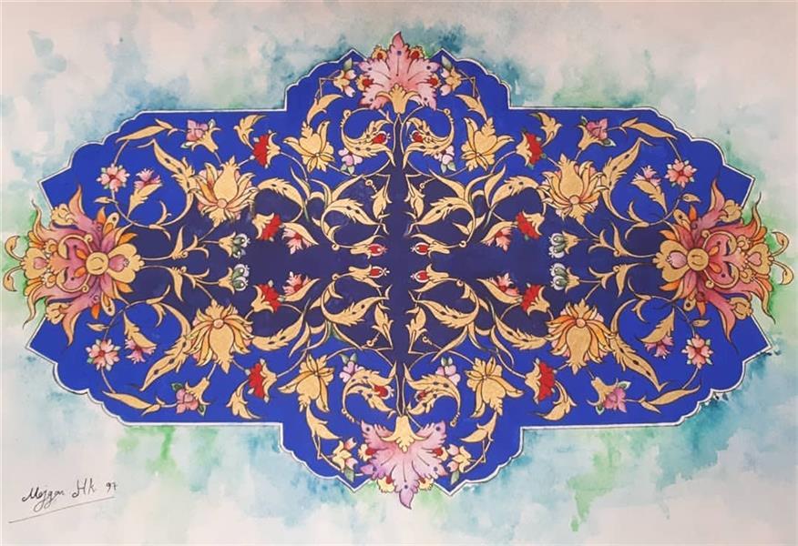 هنر نقاشی و گرافیک محفل نقاشی و گرافیک  مژگان حاجی کرم نام اثر آبی، تذهیب، سایز ۵۰×۳۰، همراه قاپ