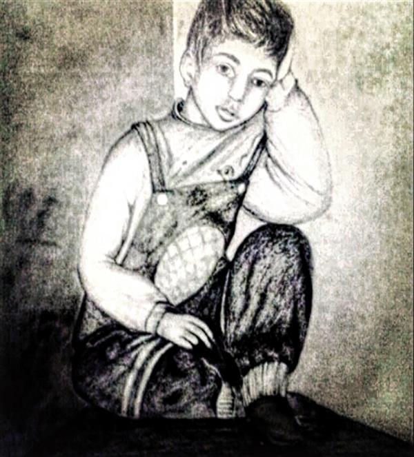 هنر نقاشی و گرافیک محفل نقاشی و گرافیک طاهره قاسمی #طراحی#پرتره#پسر_غمگین#کودک#اندازهa2 مداد طراحی