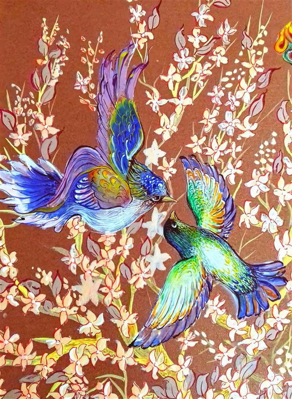 هنر نقاشی و گرافیک محفل نقاشی و گرافیک طاهره قاسمی بخشی از اثرم #طوبی #درخت #پرنده #گل_و_مرغ #گواش_و_آبرنگ #متالیک