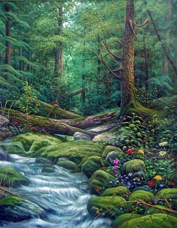 هنر نقاشی و گرافیک محفل نقاشی و گرافیک فرزان دینی منش جنگل-آکریلیک روی بوم-100 در 70 سانتیمتر #منظره جنگل#درختان#