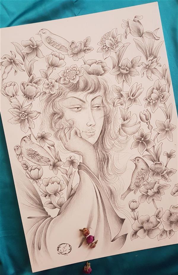 هنر نقاشی و گرافیک محفل نقاشی و گرافیک شفیعه جهرانی ترکیب چهره و گل و مرغ_سیاه قلم اندازه ۵۰×۳۵ _ مقوا ماکت #چهره#گل_و_مرغ#سیاه_قلم#مداد