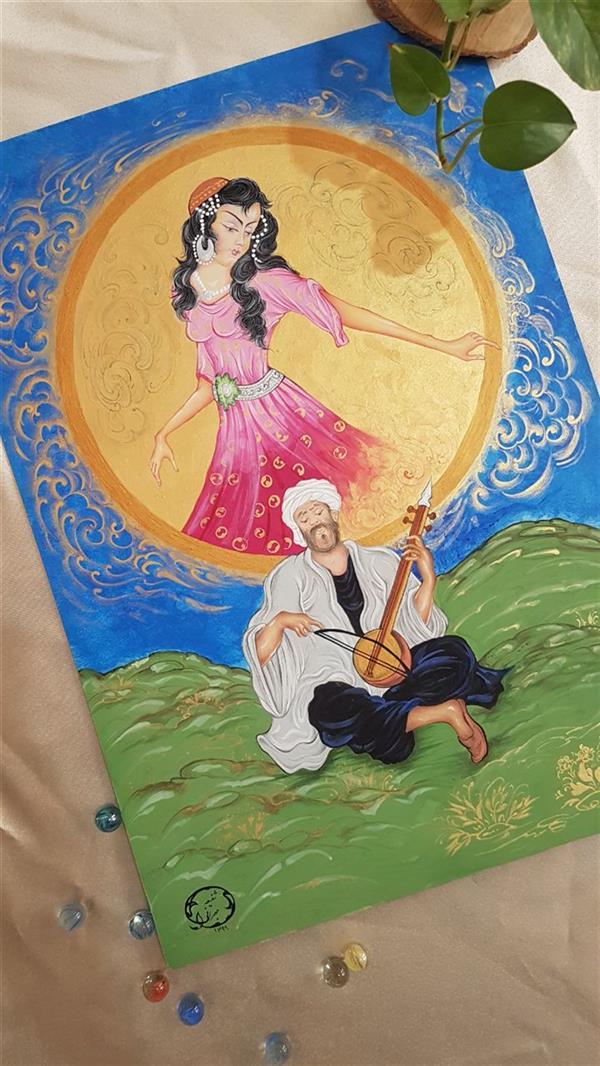 هنر نقاشی و گرافیک محفل نقاشی و گرافیک شفیعه جهرانی نوازنده _ سایز ۷۰ × ۵۰ _ #گواش#آبرنگ#مقواماکت