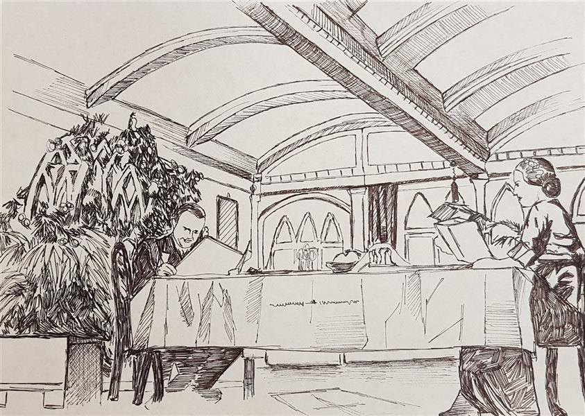 هنر نقاشی و گرافیک محفل نقاشی و گرافیک مهسا خیراندیش  - mahsa kheirandish  عنوان : صحنه ای از #فیلم #همشهری_کین  shot from #Citizen_Kane movie ( 1941 ) ابعاد : A4 تکنیک : #راپید ( خودکار ) روی #کاغذ سبک : _  سال تولید : ۱۳۹۸ #مهسا_خیراندیش #طراحی  #mahsakheirandish #sketch