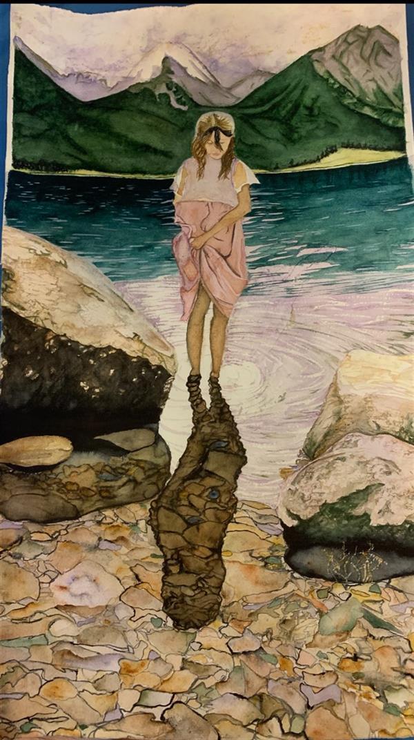 هنر نقاشی و گرافیک محفل نقاشی و گرافیک بهار صراف نام اثر: برکه تنهایى من نقاشى ابرنگ روى مقوا