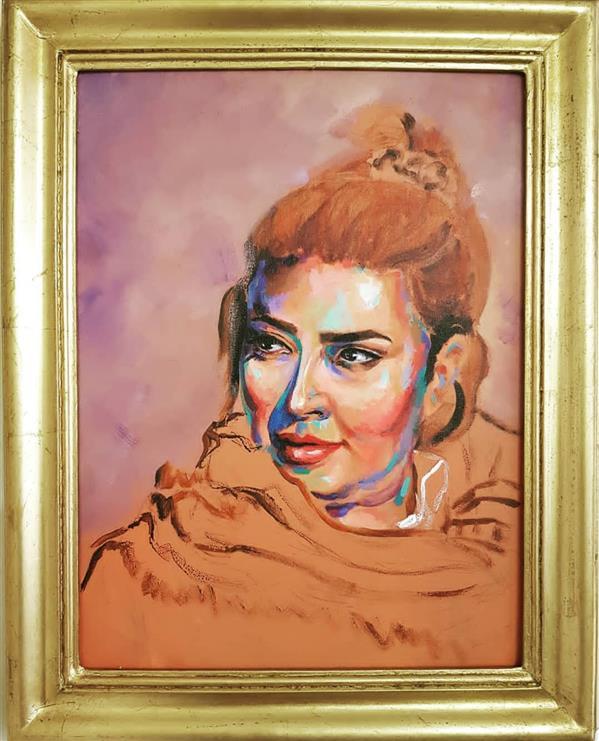 هنر نقاشی و گرافیک محفل نقاشی و گرافیک رامین یاراحمدی سایز ۳۰×۴۰ قاب چوبی ورق طلا