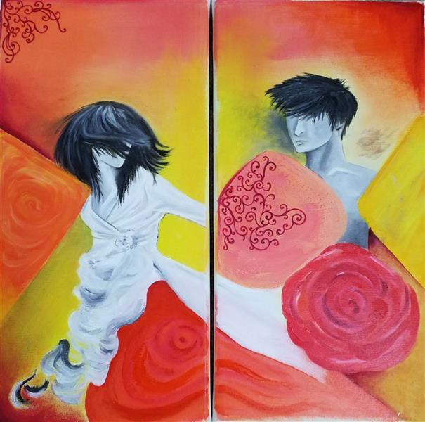 هنر نقاشی و گرافیک محفل نقاشی و گرافیک لیلا جلالی تهرانی #شوق وصال #بوم دو قلو #بیست در چهل