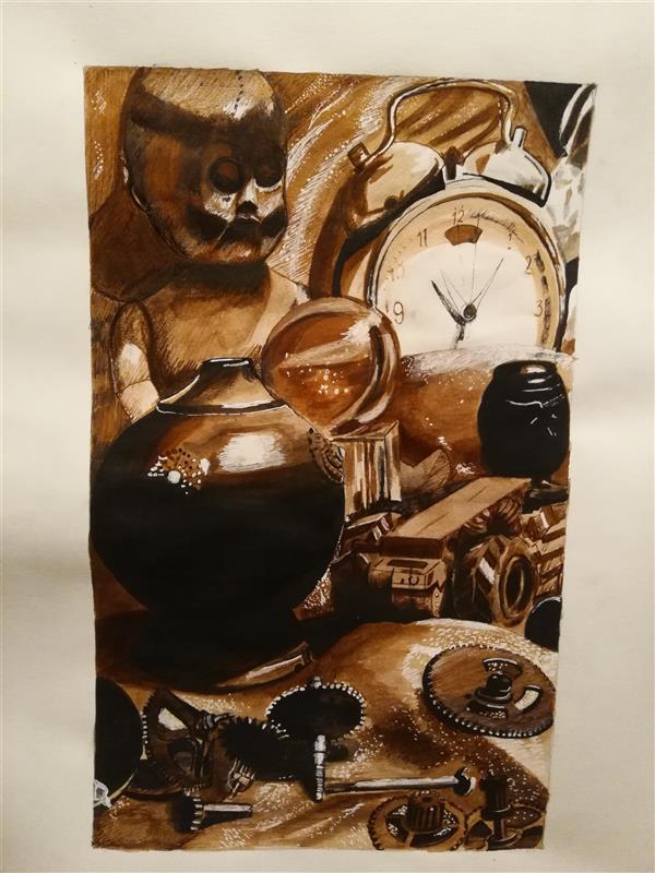 هنر نقاشی و گرافیک محفل نقاشی و گرافیک یکتا یکتا،اب مرکب وقلم فلزی،خاطرات جا مانده پاییز ۱۳۹۹