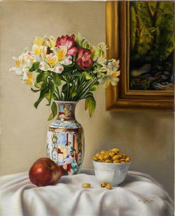 هنر نقاشی و گرافیک محفل نقاشی و گرافیک مژگان زمانی عنوان اثر : گلدان گل و پسته نقاش: #مژگان_زمانی  تکنیک: #رنگ_روغن  ابعاد: ۴۰ در ۵۰