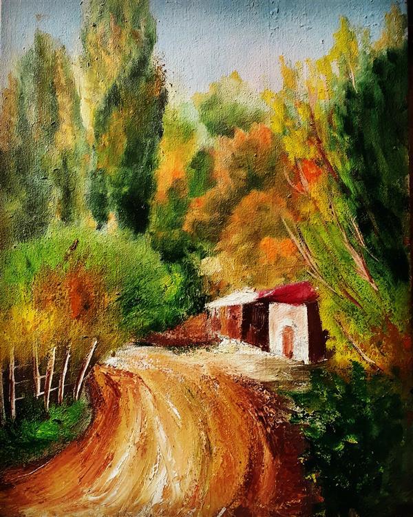 هنر نقاشی و گرافیک محفل نقاشی و گرافیک حسن زمانی رنگ روغن روی بوم روستای آوین شهرستان میانه