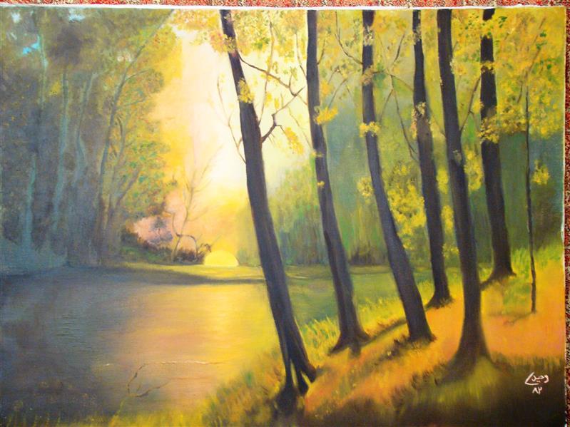 هنر نقاشی و گرافیک محفل نقاشی و گرافیک حورا وحیدی 45×60 سانتی متر #پاییز #منظره #درخت