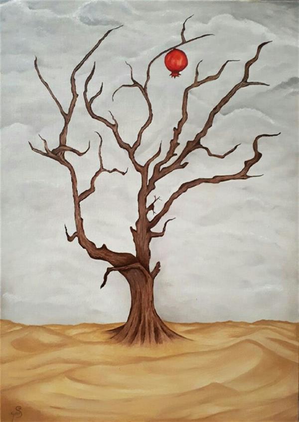 هنر نقاشی و گرافیک محفل نقاشی و گرافیک saharsafareh عنوان: آخرین انار دنیا سبک:مدرن_مینیمالیسم تکنیک:رنگ روغن سایز : ۵۰×۷۰