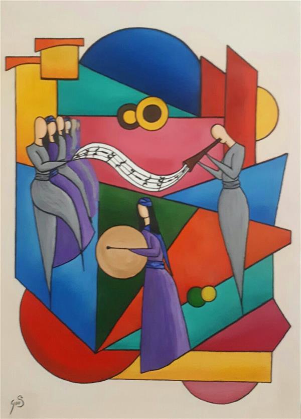 هنر نقاشی و گرافیک محفل نقاشی و گرافیک saharsafareh #موسیقی_سکوت  ابعاد=  ۵۰×۷۰ متریال= رنگ روغن سبک = کوبیسم