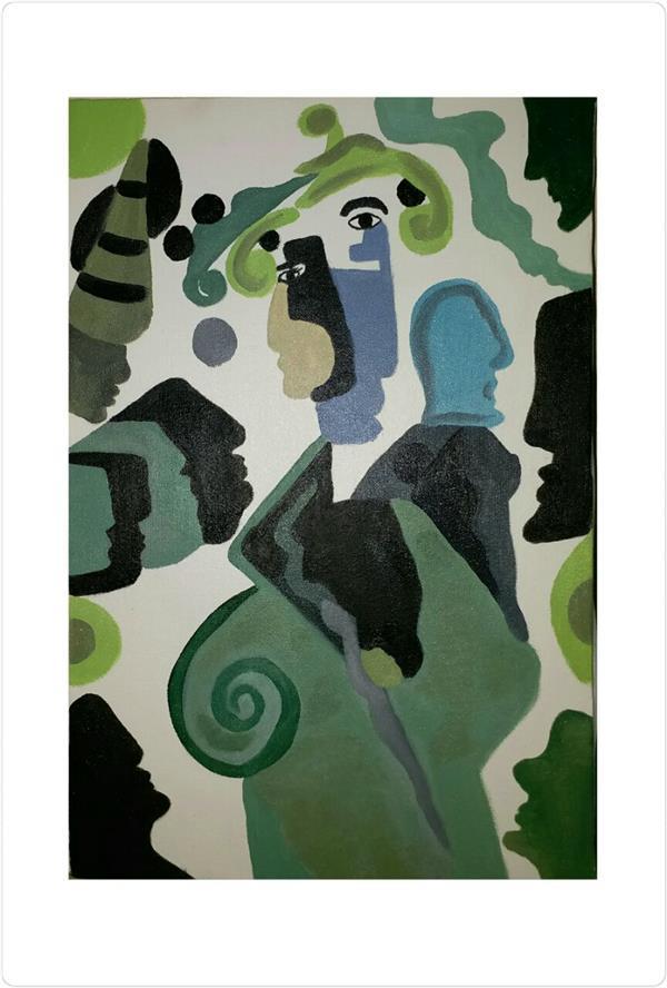 هنر نقاشی و گرافیک محفل نقاشی و گرافیک atefehteymouri  رنگ روغن  سبک کوبیسم  متریال :بوم  سایز ۳۰ در ۴۰