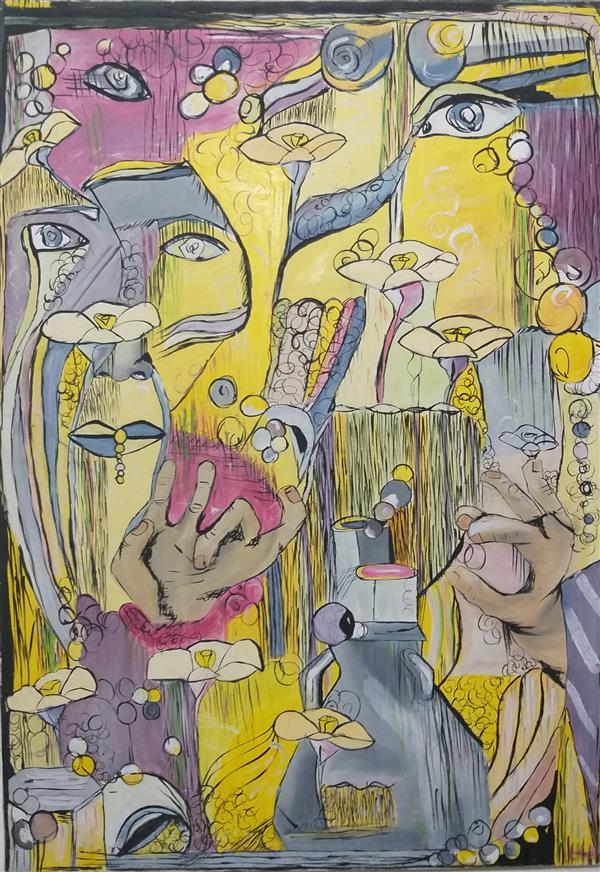 هنر نقاشی و گرافیک محفل نقاشی و گرافیک مرضیه مه آبادی سبک تلفیق مدرنیسم و کوبیسم  مواد گواش روی بوم  موضوع انسان و جامعه برداشت آزاد استفاده از رنگهای اصلی و مکمل  سال ۱۳۸۳ کشیده شده