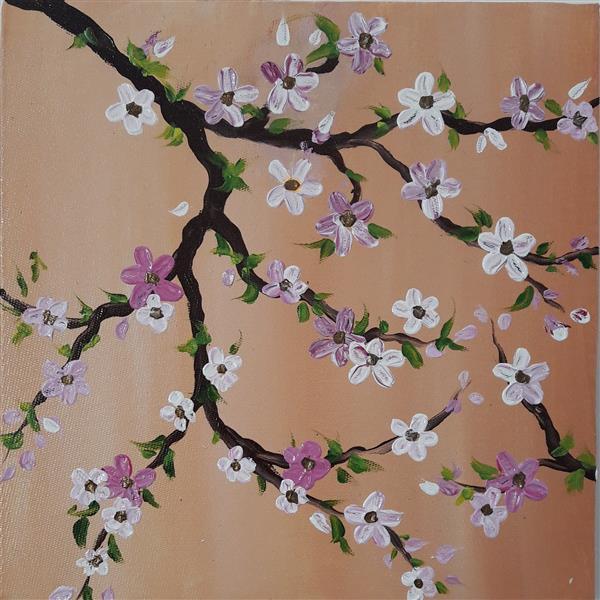 هنر نقاشی و گرافیک محفل نقاشی و گرافیک احسان آرت 20×20 نقاشی اکریلیک شکوفه های بهاری .برجسته.مناسب جهت هدیه روز مادر