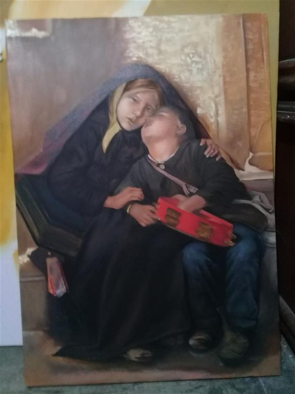 هنر نقاشی و گرافیک محفل نقاشی و گرافیک محمدرضااسدی سایز ۶۰ در ۸۰ سانتی متر نشانگر سردی فقر با رنگ های گرم...