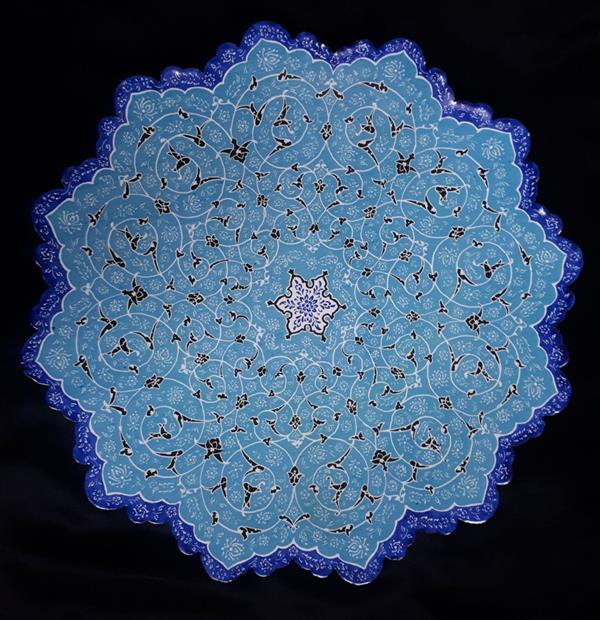 هنر نقاشی و گرافیک محفل نقاشی و گرافیک Farzane_jangravi #بشقاب 25 سانتی #مینا نقاشی #اسلیمی دهان اژدری ،ختایی چوبی