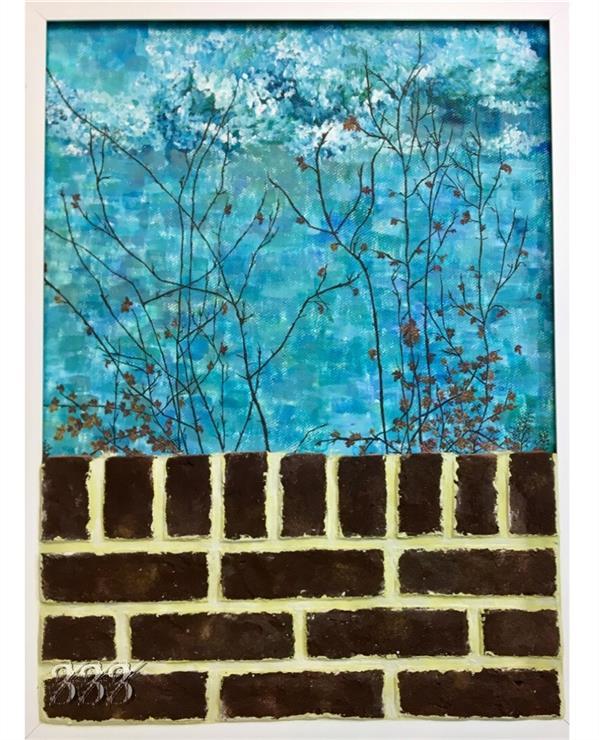 هنر نقاشی و گرافیک محفل نقاشی و گرافیک شکیبا معزی نام اثر:دیوارِ پاییز ابعاد:۶۶*۸۹ #اکرلیک اجرا شده روی #مقوا.#لمینیت شده و شاسی شده با ام دی اف پایین تابلو آجر دکوراتیو و سیمان کار شده است. تابلو #قاب سفید ساده به عرض ۲.۵ سانت دارد.