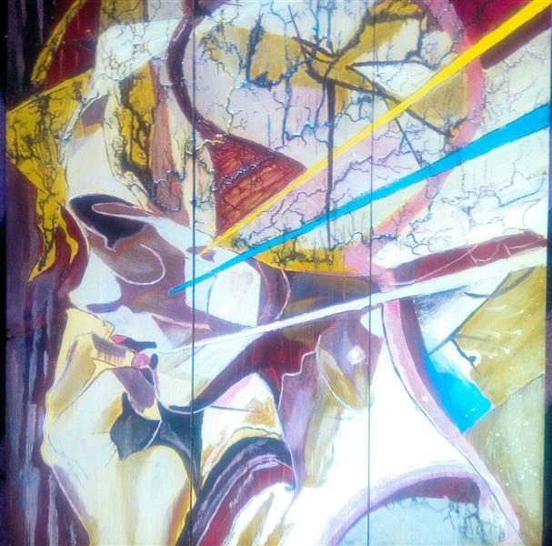 هنر نقاشی و گرافیک محفل نقاشی و گرافیک یونس پیک نقاشی به روی چوب با آکرولیک #قسمتی از نقاشی با برق طراحی شده.ابعاد50*50