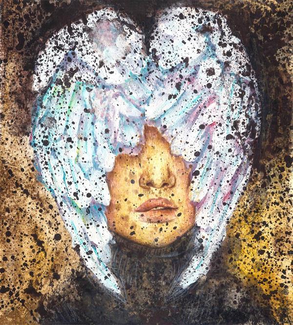 هنر نقاشی و گرافیک محفل نقاشی و گرافیک عسل علیخانی  ۳۵×۳۵ ترکیب مواد روی مقوا ۲۰۱۵ #هنر #نقاشی #تصویرسازی #پرتره #بال #پرنده #زن