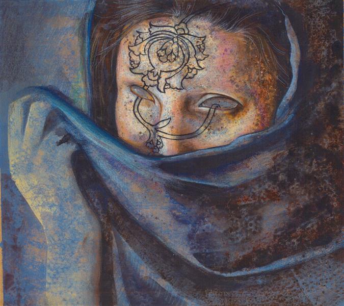 هنر نقاشی و گرافیک محفل نقاشی و گرافیک عسل علیخانی  ترکیب مواد روی مقوا  ۳۵×۴۵ ۲۰۱۷  #زن ایرانی #هنر #نقاشی #نقوش #اسلیمی #فرش ایرانی #گل شاه عباسی