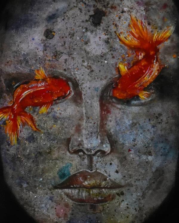 هنر نقاشی و گرافیک محفل نقاشی و گرافیک عسل علیخانی  ترکیب مواد روی مقوا  ۲۰۱۸ ۳۰×۴۰ #هنر #ماهی #پرتره #زن #نقاشی