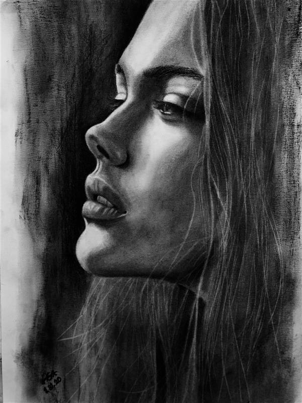 هنر نقاشی و گرافیک محفل نقاشی و گرافیک آسا منصورزاده طراحی پرتره سیاه قلم ابعاد ۳۵*۵۰