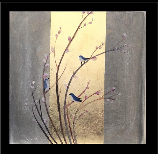 هنر نقاشی و گرافیک محفل نقاشی و گرافیک مریم فریدونی سایز بوم ۵۰*۵۰ رنگ روغن و ورق طلا