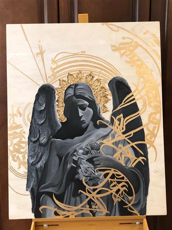 هنر نقاشی و گرافیک محفل نقاشی و گرافیک مریم فریدونی #رنگ_روغن #ورق_طلا_مایع #تکسچر بوم چوبی