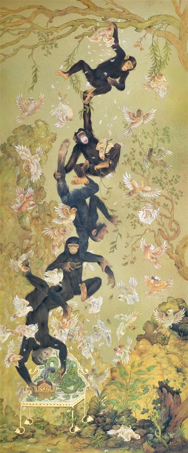 هنر نقاشی و گرافیک محفل نقاشی و گرافیک زبیر سعیدی نگارگری عنوان: جنگ علیه سلاطین گواش بر روی مقوا #نگارگری #زبیرسعیدی #جنگ علیه سلاطین