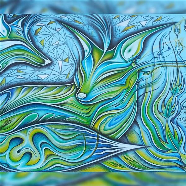 هنر نقاشی و گرافیک محفل نقاشی و گرافیک اشکان دژپرور عنوان: شکوفایی سبز ابعاد: A3 مدارنگی روی مقوا پاسپارتو دوبل قاب سفید ۵ سانت